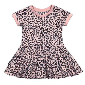 Swing Dress LS/SS Leopard Pink