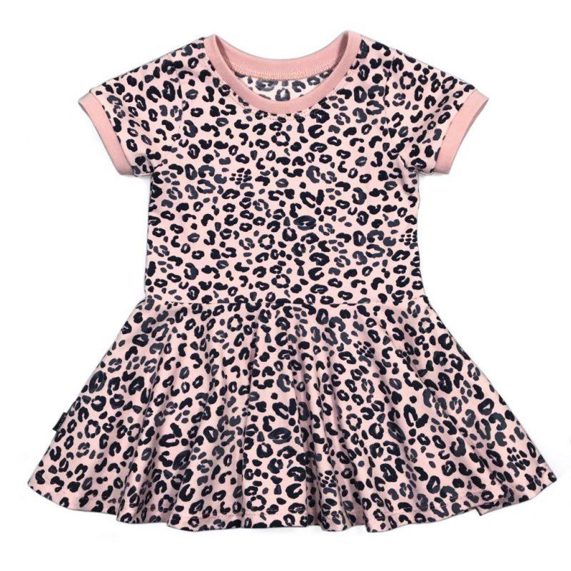 Swing Dress LS/SS Leopard Pink