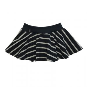 Mini Skort Stripes Black & Grey Melange