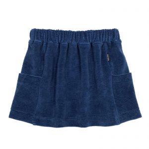 Pocket Skirt Ribbed Blue