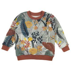 Sweater van biologisch sweatstof met tropische plantenprint