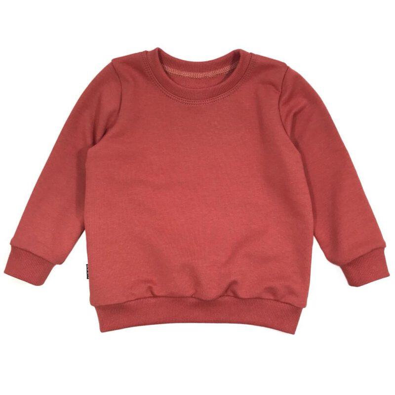 Koraalrode kindersweater van biologisch sweatstof