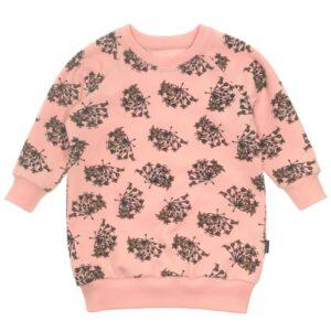 Roze sweaterjurk van biologisch sweatstof met Gedroogde Bloemenprint