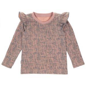 Handgemaakt shirt met roezels Perzikroze/Grijs