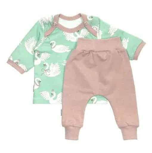 Babyset Zwaantjes Mint/Roze gemêleerd