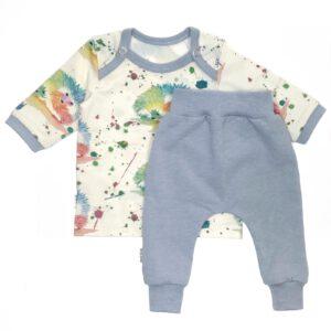 Babyset Egeltjes Ecru/Blauw gemêleerd