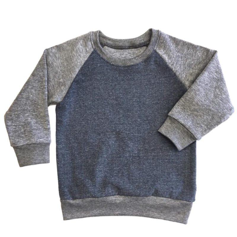 Sweater Jeansblauw met Grijs