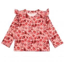 Shirt met roezels Koraal Ginkgo