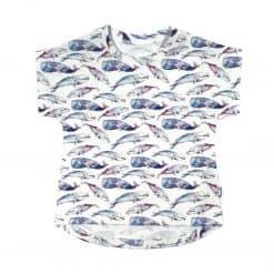 t-shirt walvissen blauw aquarel