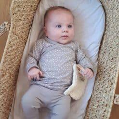 Babykleding biologisch stipjes taupe