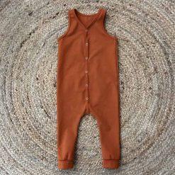 Jumpsuit jongenskleding handgemaakt onesie cognac