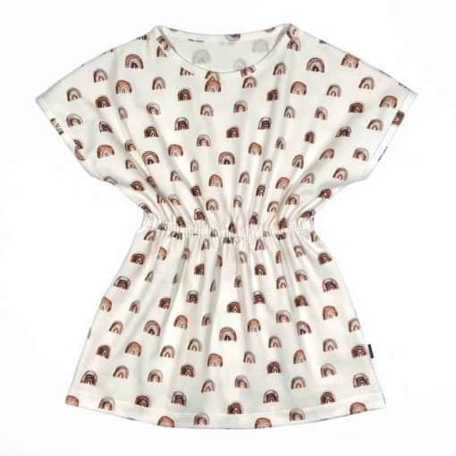 Jurkje regenboogjes bruin Meisjeskleding zomer