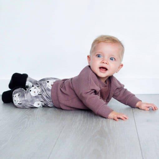 Babykleding Kinderkleding Poolvos Handgemaakt Mauve Rib