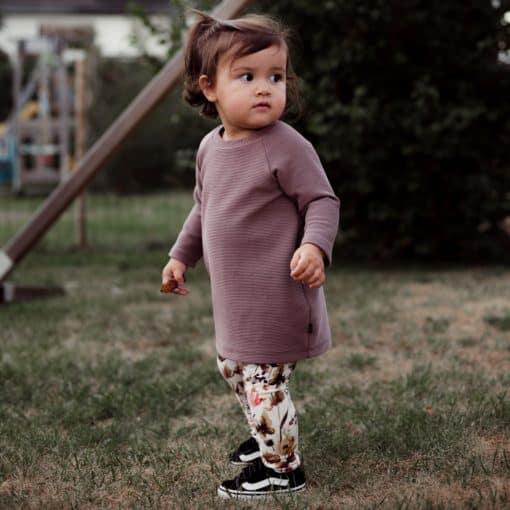 Handgemaakte Kinderkleding Mauve Ribjurkje Legging Wilde Bloemen