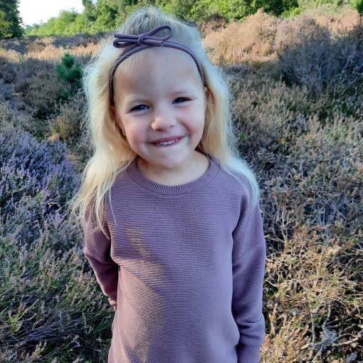 Ribsweater Mauve Meisjestrui Handgemaakt