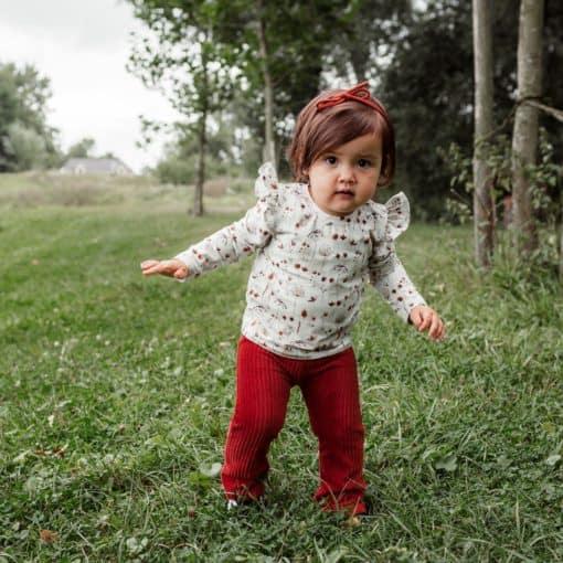 Schattige Meisjeskleding Handgemaakt Flared Broek Roezelshirt