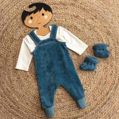 Babypakje Babykleding Handgemaakt Rookblauw Velours