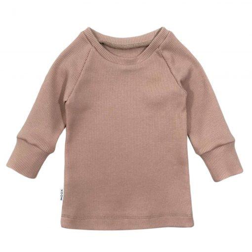 Poederroze Babyshirt Ribstof Handgemaakt