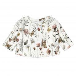 Oversized Babyshirt Ribjersey Vlinders Bloemen Handgemaakt